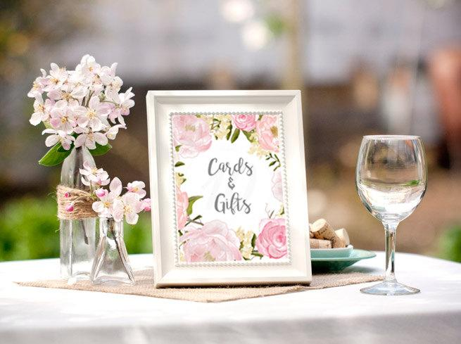 Bridal Shower Table Signs Decorations Advice For The Bride Cards Pastel Printable