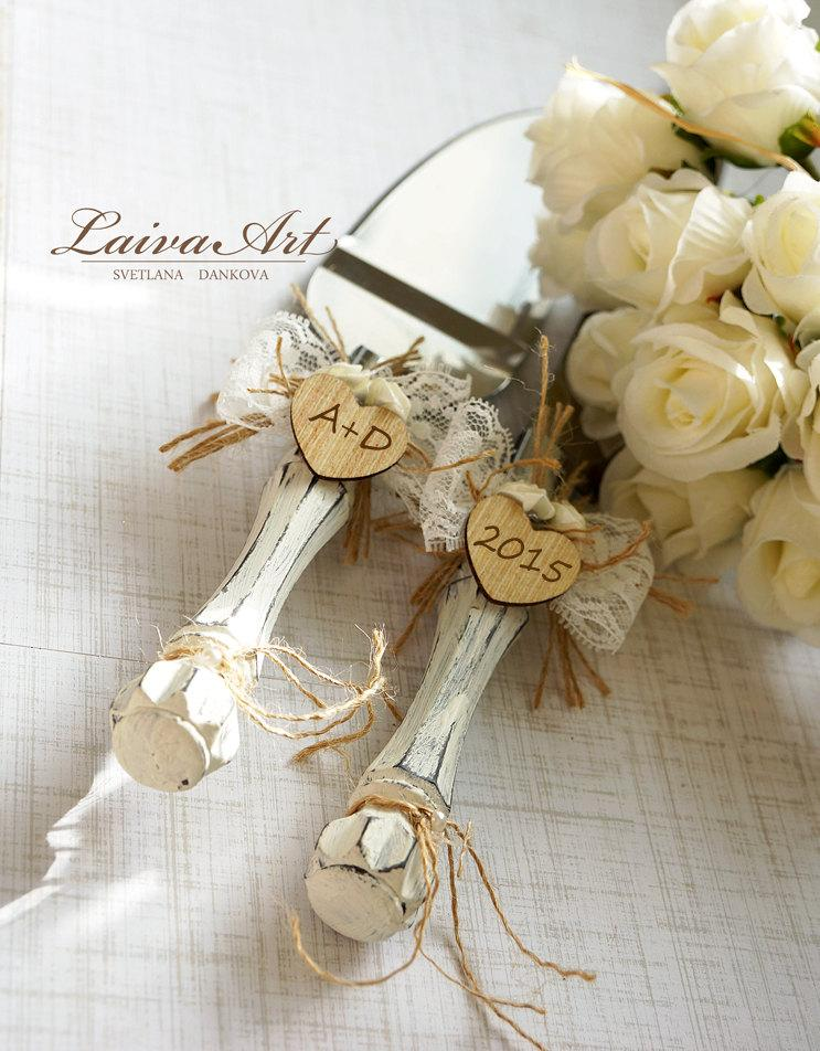 Rustic Wedding Cake Server Set Knife Cutting Servers Cutter Decoration