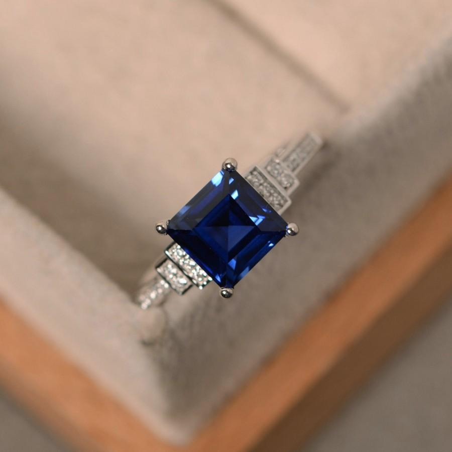 Attractive Lab Sapphire Ring, Square Cut Sapphire, Engagement Ring, Sterling  MU11