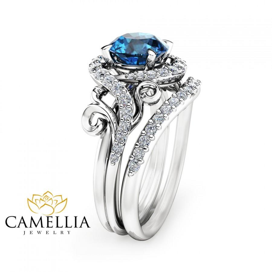 london blue topaz enement ring set unique 14k white gold - Blue Wedding Ring Set