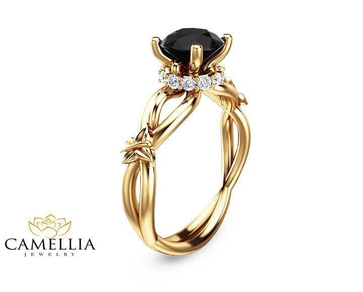 Black Diamond Butterfly Engagement Ring 14K Yellow Gold Butterfly