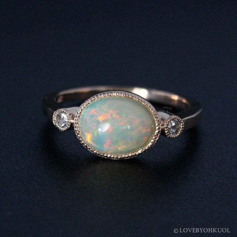 Rose Gold Australian Opal Engagement Ring Colourful White Shires