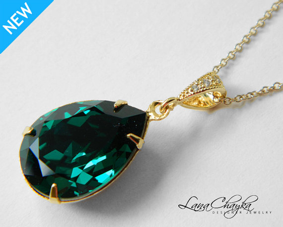 Famous Emerald Green Crystal Necklace Swarovski Emerald Rhinestone Gold  EV22