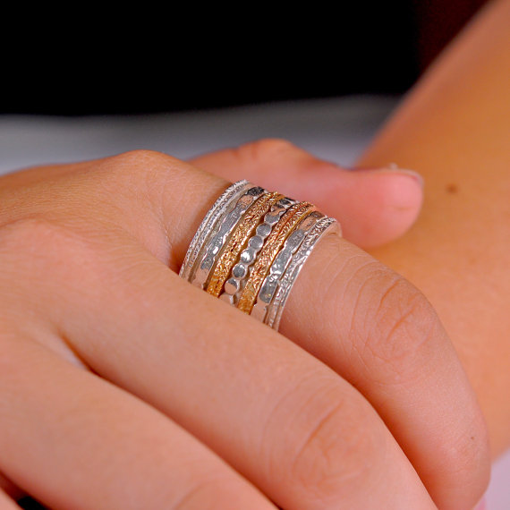 Extra Wide Sterling Silver Spinning Ring Meditation Band Worry Engagement Rings Anxiety Wedding R2174