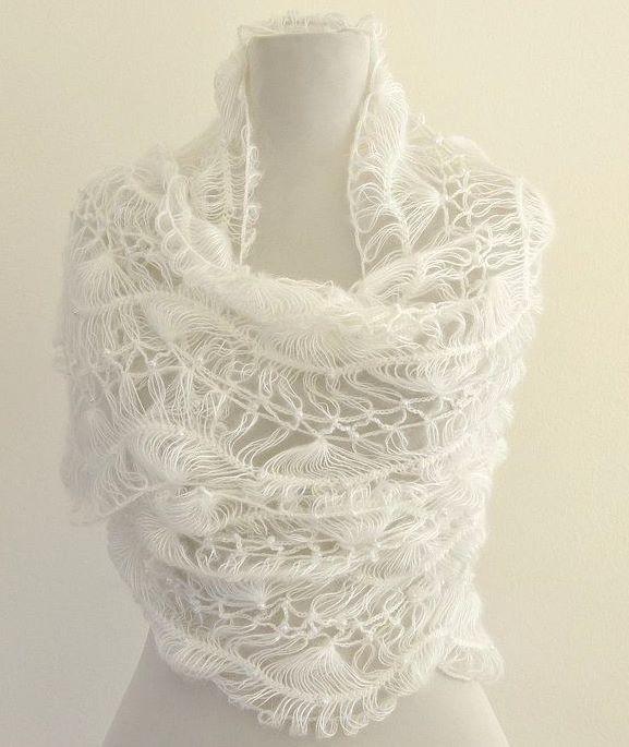 White Crochet Shawl Lace Mohair Beaded Wedding Wrap Exclusive Elegant