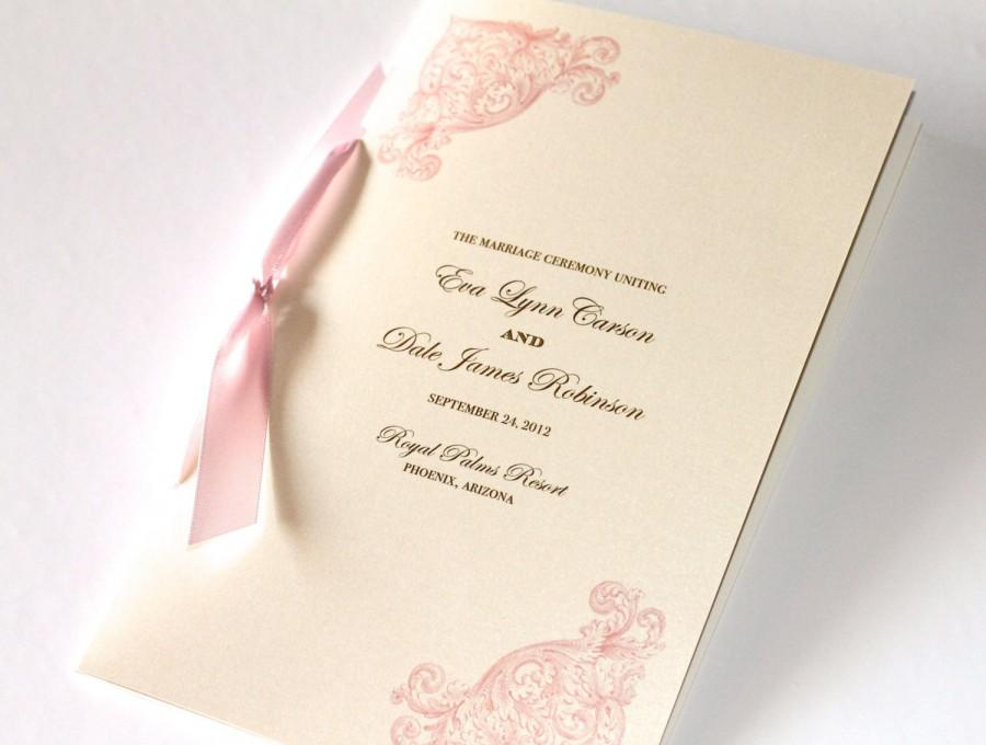 Vintage Wedding Program Elegant Ceremony Booklet Style Order Of Service Ivory Pink Gold Eva Sample
