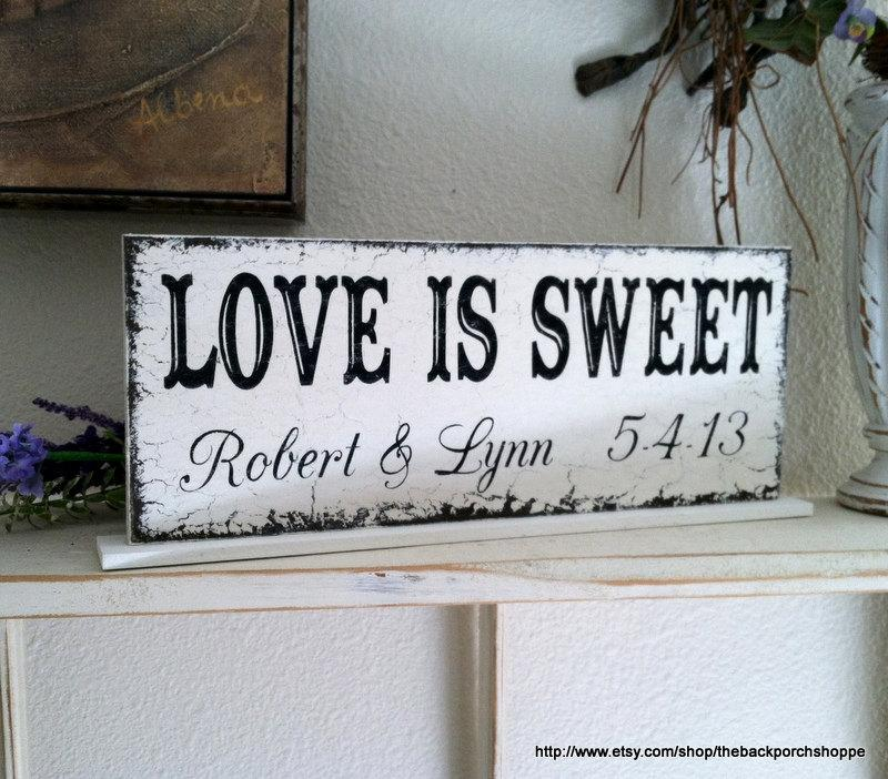 Love Is Sweet Wedding Signs Candy Bar Dessert Table Bride And Groom Sign Mr Mrs Personalized 4 3 X 12