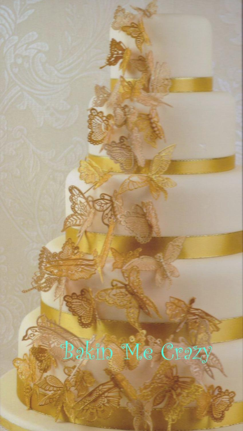 edible gold wedding cake decorations 24 edible cake lace 3d butterflies for weddings 13907