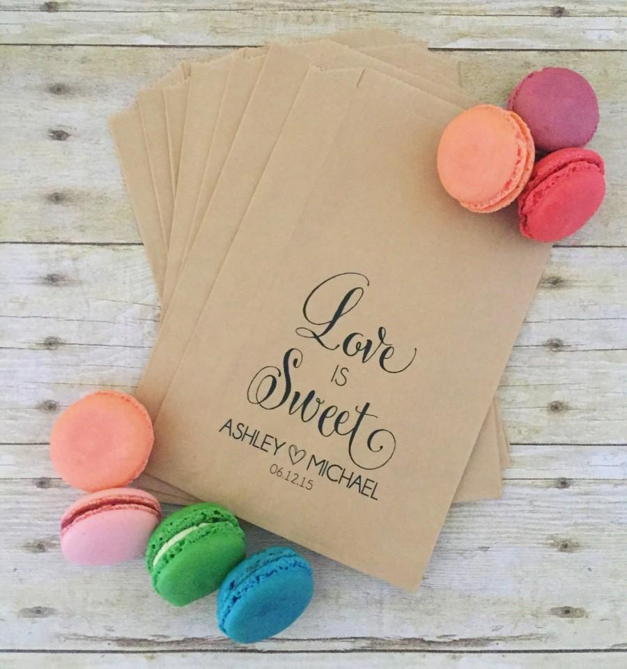 Wedding Favor Bags Treat Love Is Sweet Candy Bar Table Decor