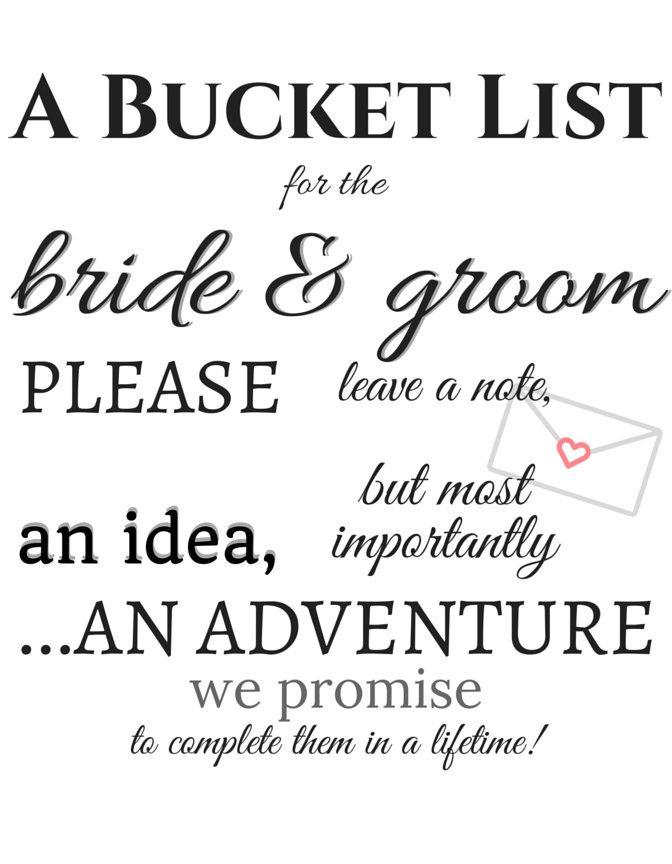 Bride And Groom Bucket List Wedding Diy Printable