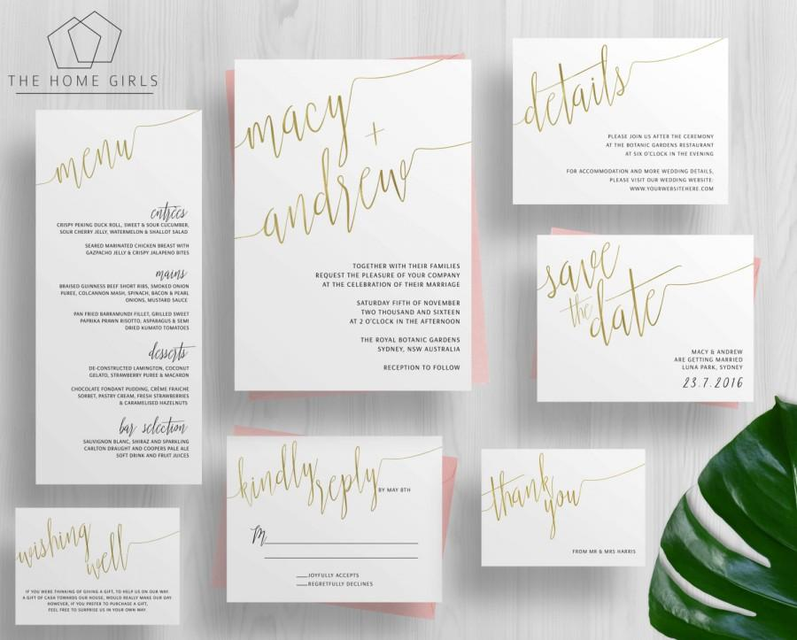 Printable Gold Foil Wedding Invitation Suite Calligraphy Copper Rose Silver Invite Set Cleo