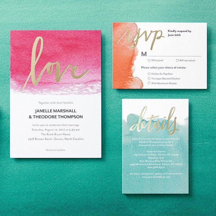Dipped Love Signature Foil Wedding Invitations In Cranberry Or Capri Blue