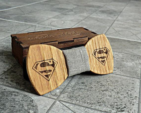 Superman Bow Tie Groomsmen Gift Valentines Gifts For Him Wedding Mens Wooden Boyfriend Fathers Day