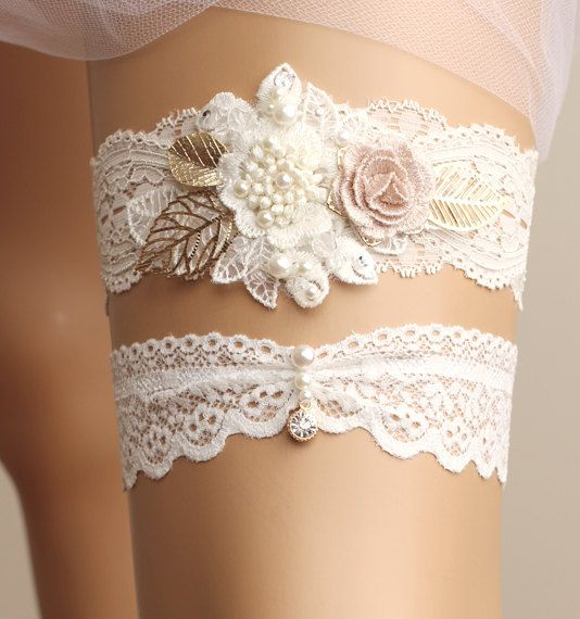 Wedding Garter Set Bridal Lace White Crystal Toss