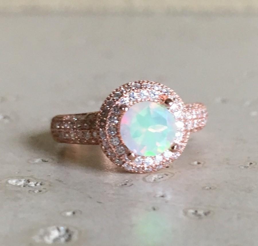 Double Halo Opal Engagement Ring Promise Round Stone Anniversary Gemstone October Birthstone