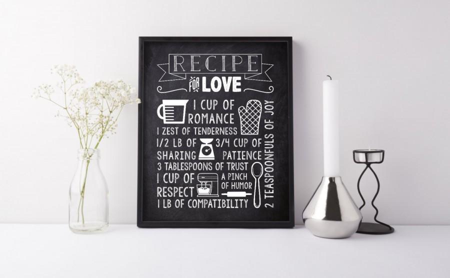 Rustic Bridal Shower Decoration Chalkboard Kitchen Wall Art Print Recipe Display For Love Gift