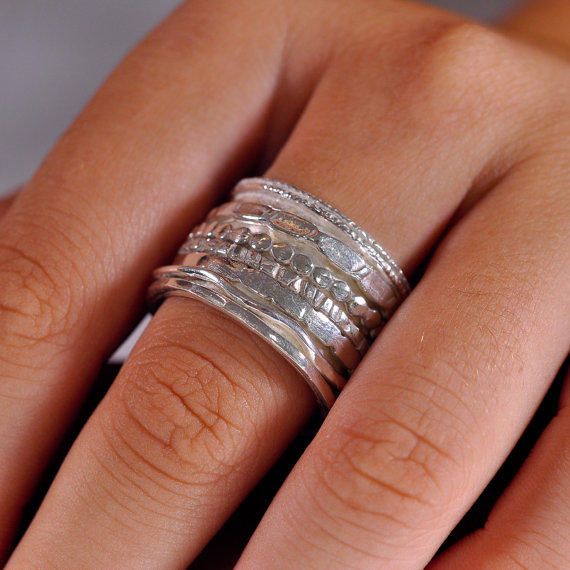 Extra Wide Spinner Ring Anxiety Rings Meditation Band Worry Engagement Silver Wedding Sterling