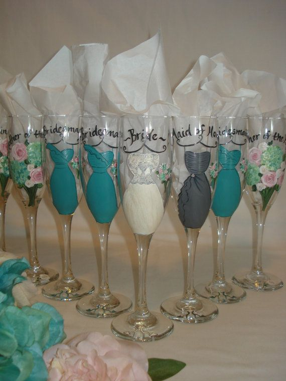 7 Personalized Bridesmaid Champagne Gles Bridesmaids Wedding