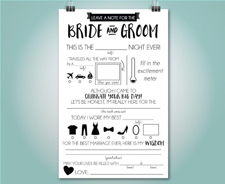Wedding Mad Libs Advice Card Fill In The Blank Custom Colors Instant 5 5x8