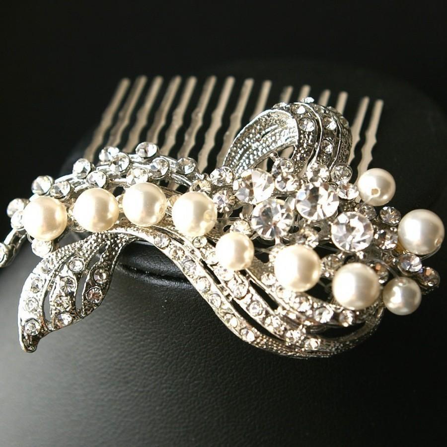 wedding hair comb, bridal hair accessories, pearl & crystal bridal
