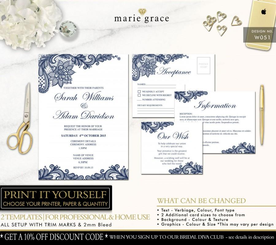 Wedding Invitation Navy Blue And Lace Template Printable Invite Set