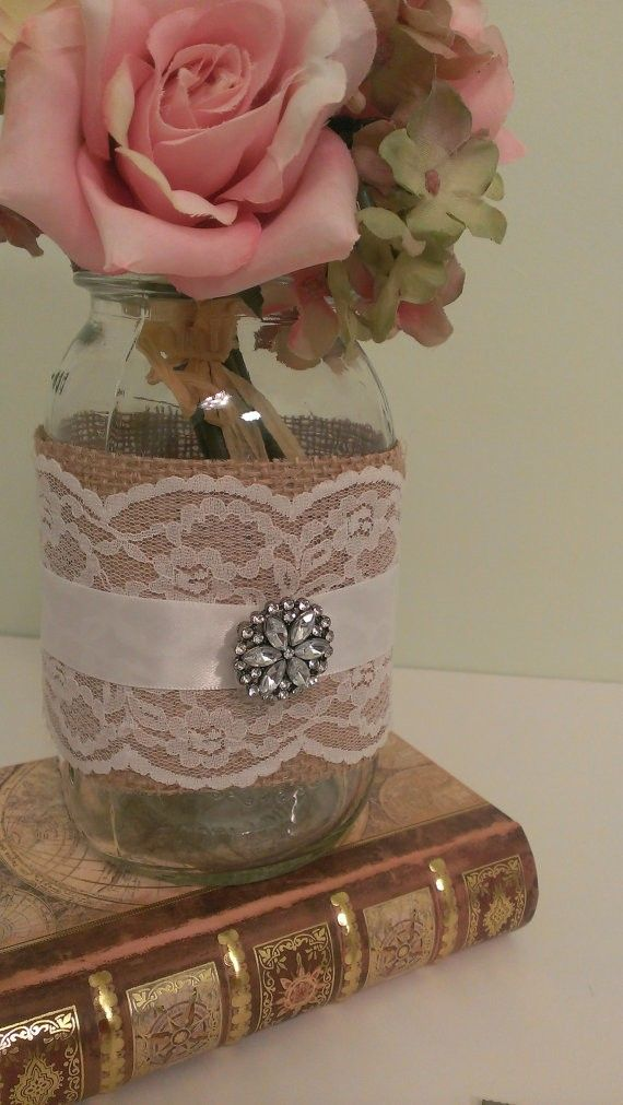 Rustic Wedding Centerpiece Burlap And Lace Mason Jar Brooch Set Of 6