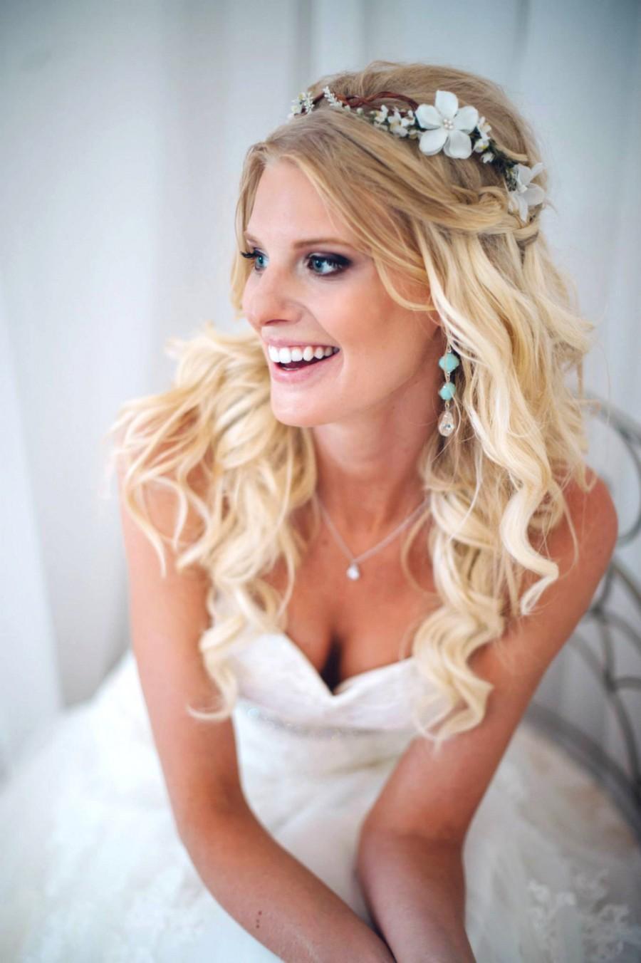 woodland halo, bridal flower crown, bridal headpiece, white floral