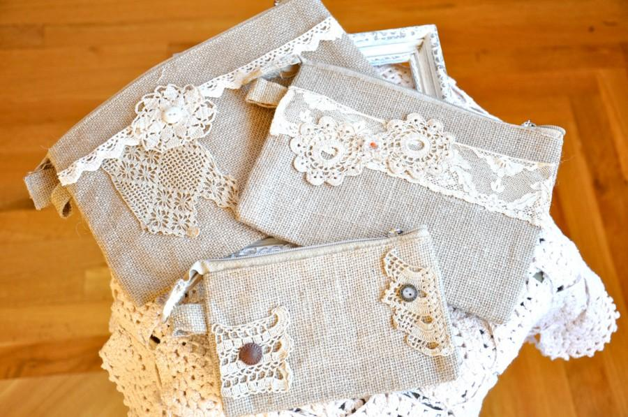 Burlap And Lace Shabby Chic Small Bags White Or Cream Vintage Bridesmaid Gifts Under 10 Zipper Pouches