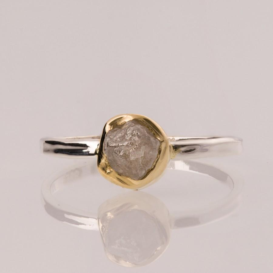 Raw Engagement Ring 14k Gold And Rough Diamond Unique Alternative