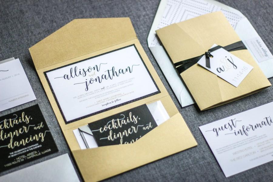 Calligraphy Wedding Invitations Glitter Black Silver And Gold Modern Whimsical Pocketfold 1 Layer V1 Sample