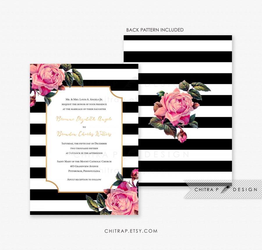 black white wedding invitation printed pink gold fl