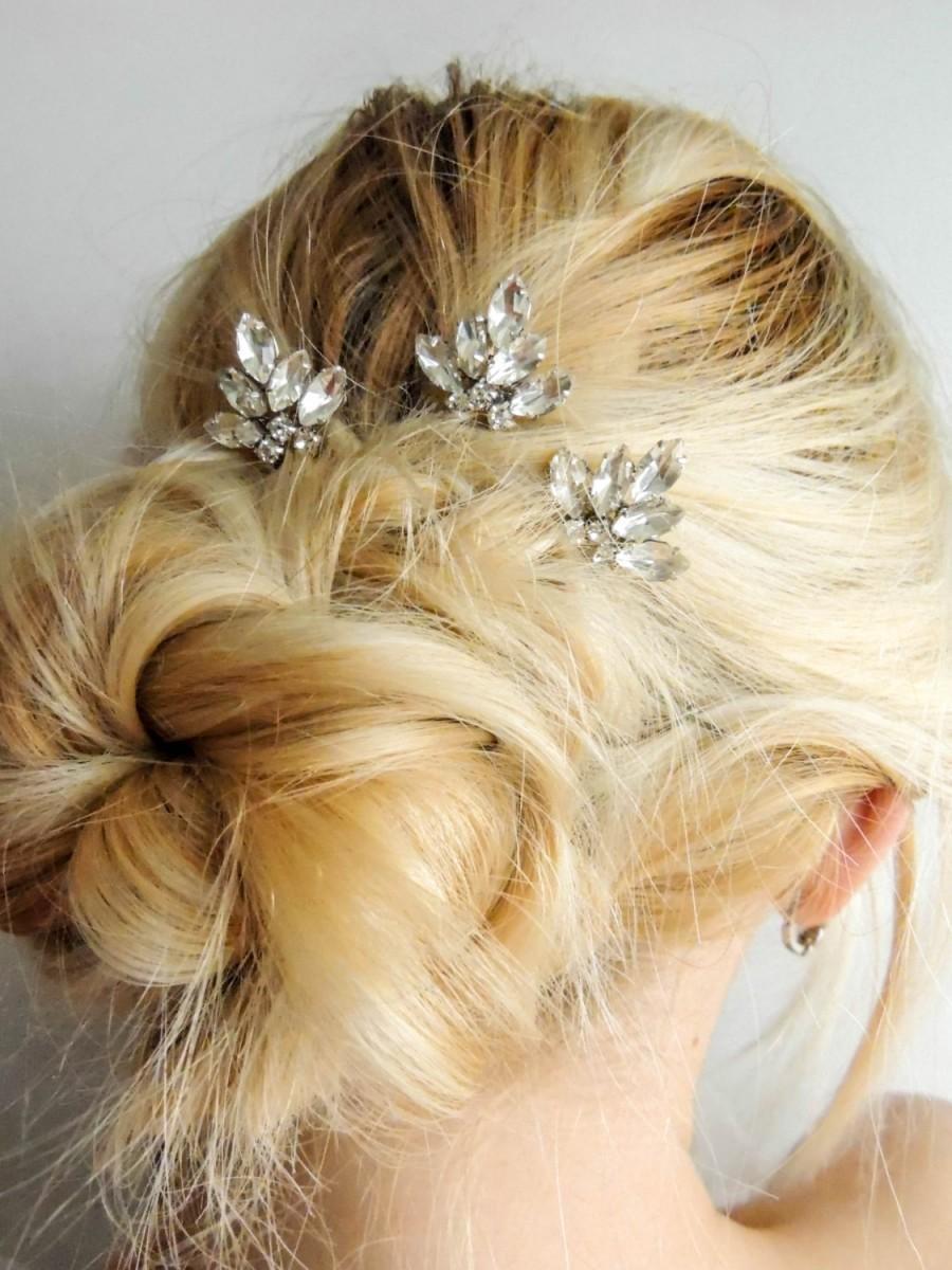 set of 3/ swarovski crystal hair pins/ hair pins/ bridal hair