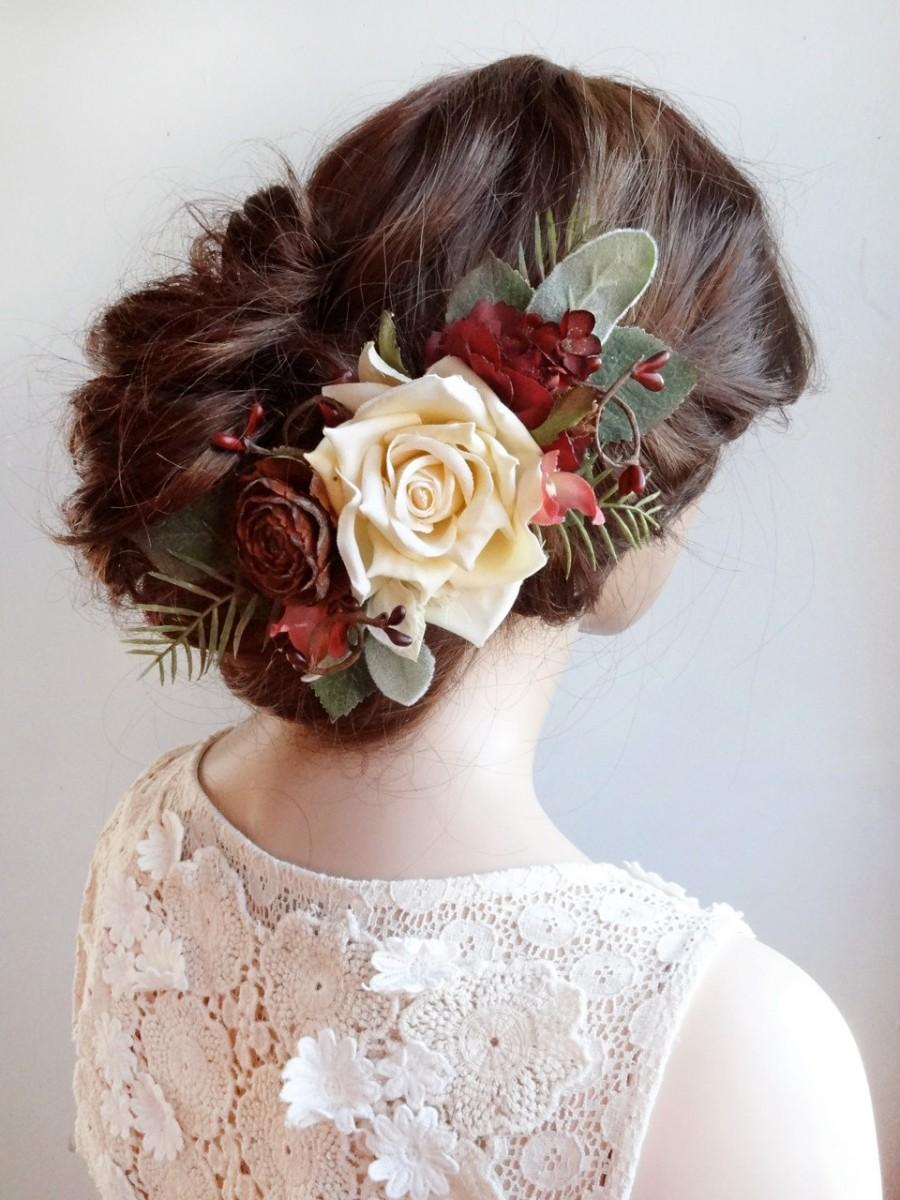 Wedding Hair Piece Burgundy Red Accessory Bridal Hairpiece Clip Comb Rustic Dark Flower