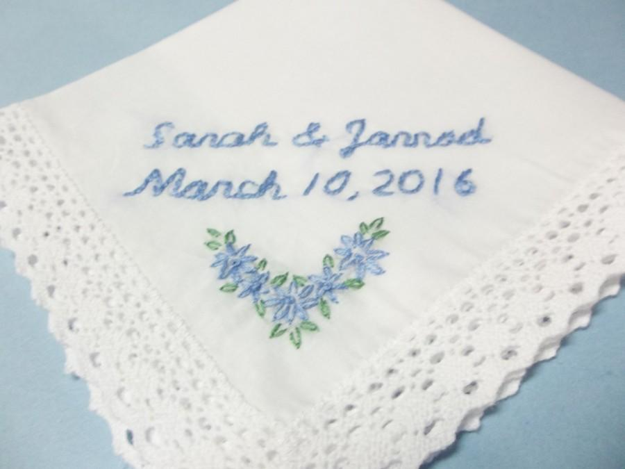 Something Blue Wedding Handkerchief Bridal Gift Bride Hanky Personalized Hand Embroidery For Bouquet Wrap