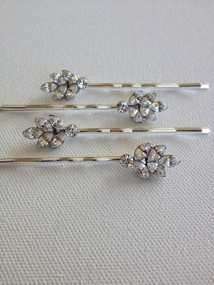 set of 3, swarovski crystal leaf bobby pins, rhinestone, leaf