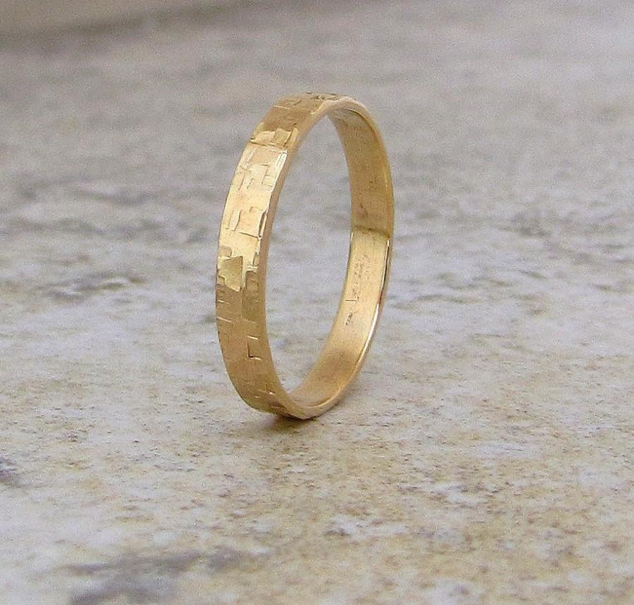 Mens Wedding Band Hammered Gold Ring 14k Distresssed Engraved Custom Unique Bands Rustic Rings For Him Her