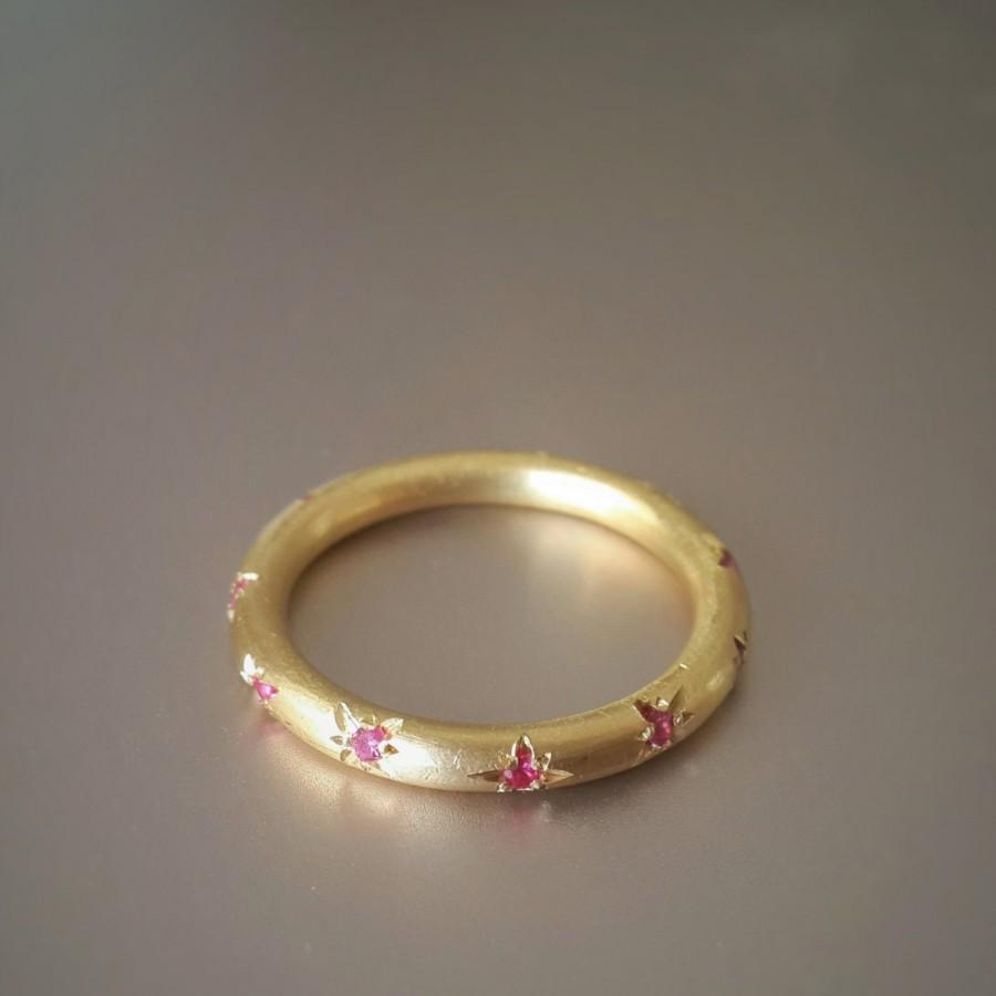 Ruby Eternity Band In 18k Solid Gold Star Studded Ring Engagement Wedding Setting Stack Stars