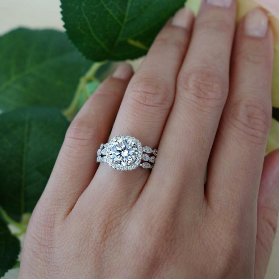 3 Band 2 25 Ctw Halo Wedding Set Vintage Inspired Bridal Rings Man Made Diamond Simulants Art Deco Ring Engagement Sterling Silver