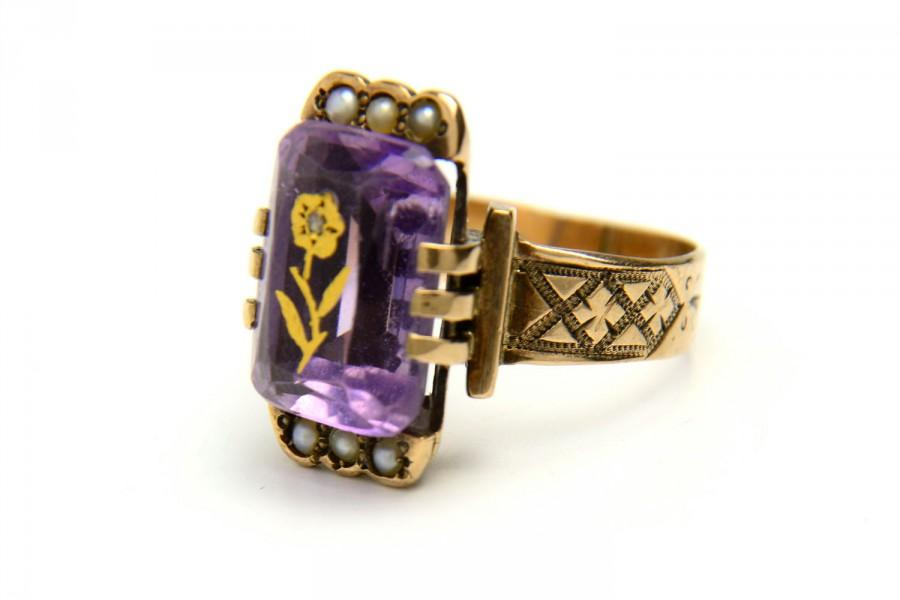 ANTIQUE Rose Sharon Ring Victorian Engagement Ring 10k Gold