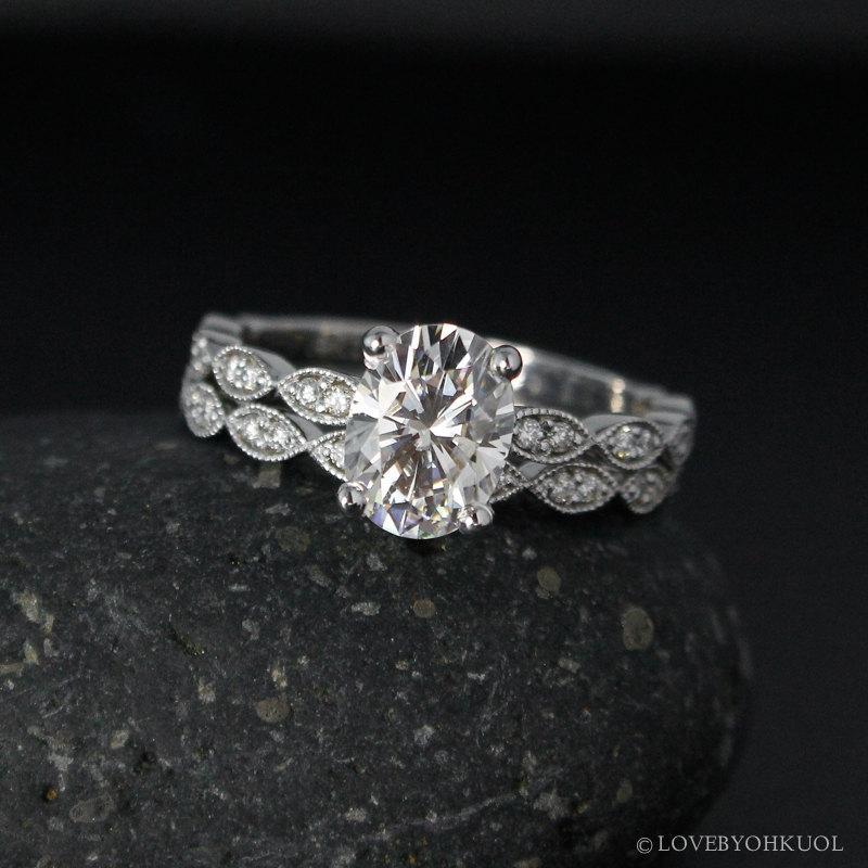 Forever One Oval Moissanite Engagement Ring Vintage Inspired Wedding Set Boho Bridal Rings