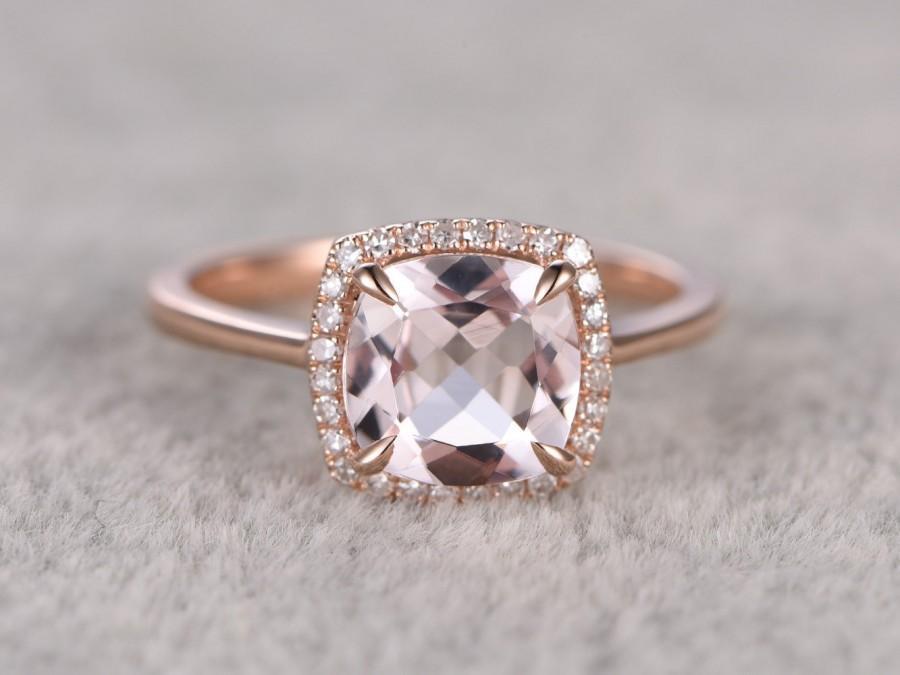 8x8mm Morganite Engagement Ring Rose Gold Diamond Halo Plain Wedding Band 14k Cushion Cut Gemstone Promise Bridal Claw Gs
