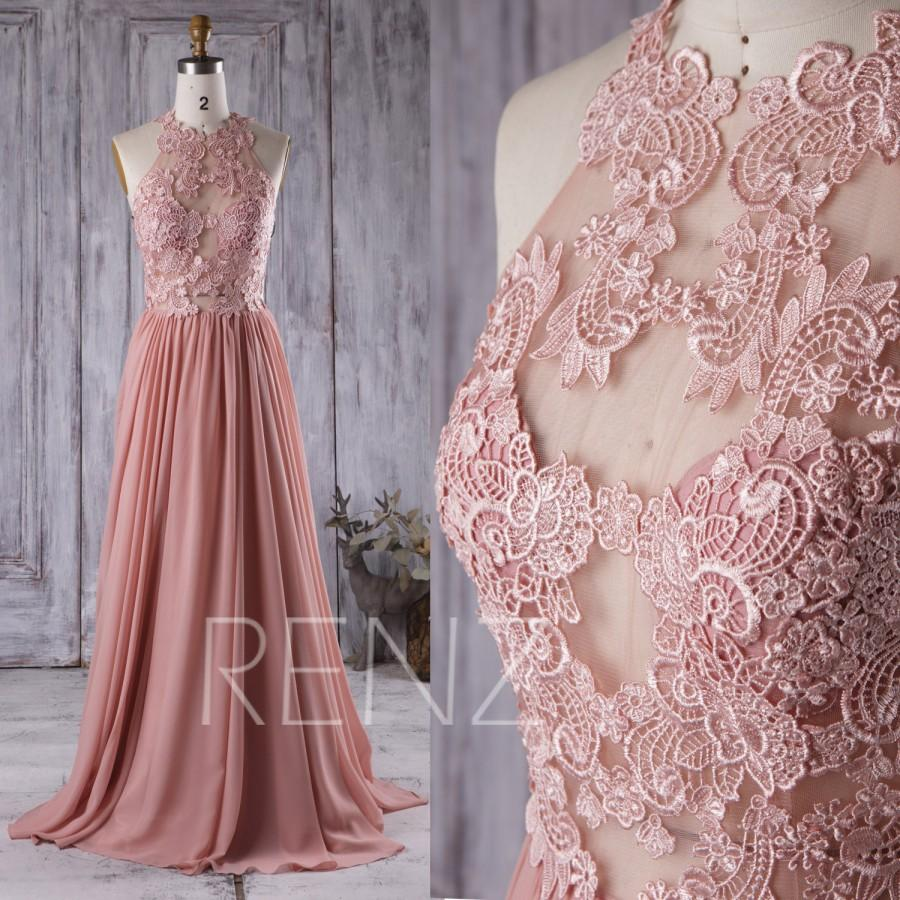 2016 Dusty Rose Bridesmaid Dress Lace Transpa Wedding Long A Line Prom Women Formal Floor Length X002
