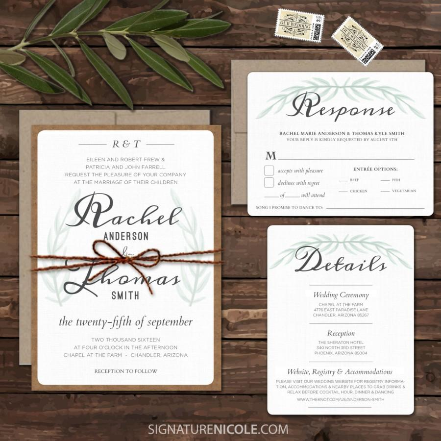 Rustic Boho Wedding Invitation Suite Set Rsvp Detail Quick Delivery Organic Olive Leaves Of 10