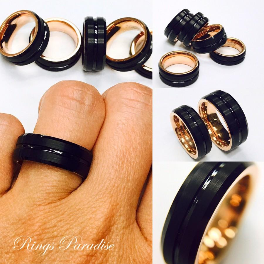 Mens Tungsten Ring Rose Gold Black His Promise Engagement Men S Wedding Band