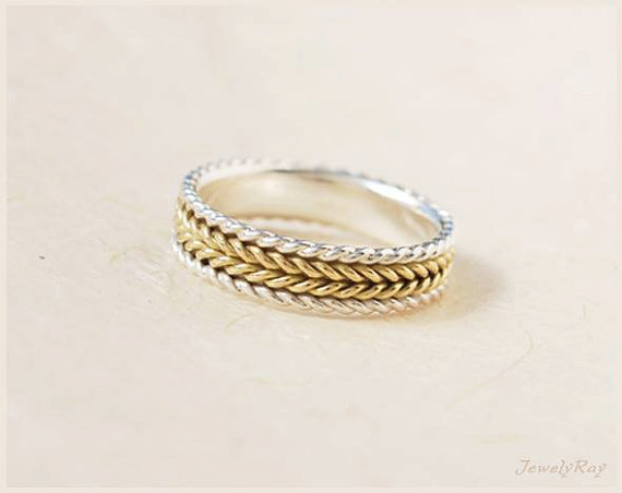 Braided Wedding Ring Silver And Gold Unique Band Mixed Metal Love