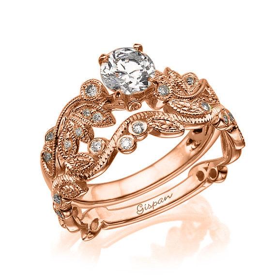 Leaves Engagement Set Rose Gold Wedding Band Jewelry Antique Ring Vintage Unique