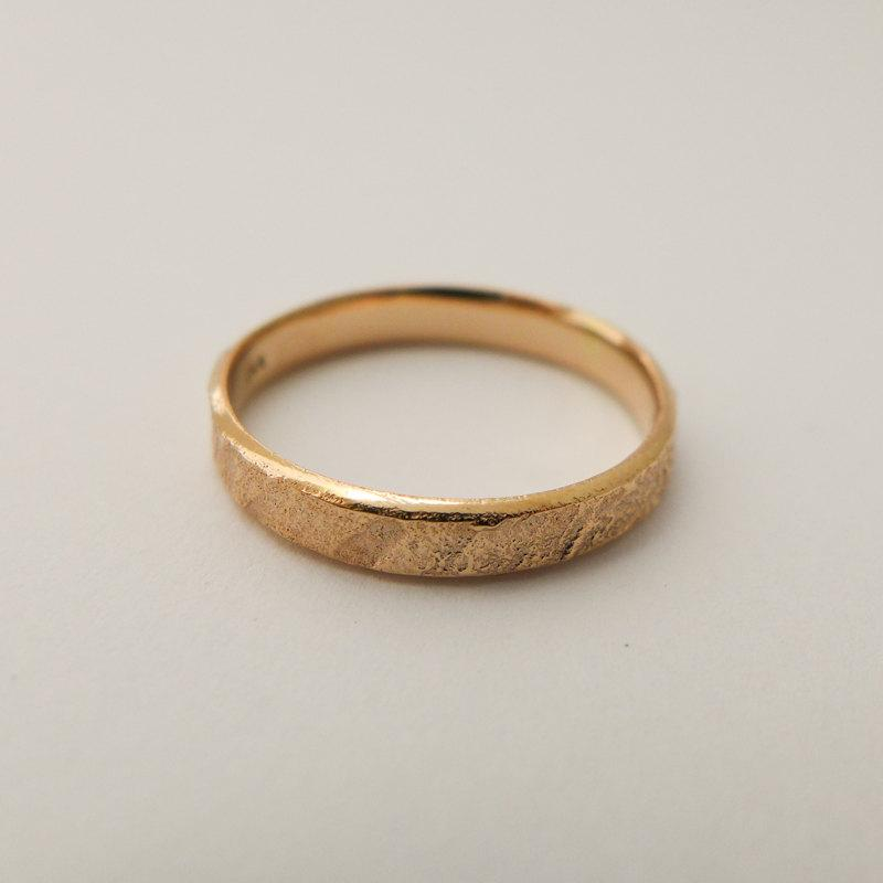 Rose Gold Wedding Band Rustic Yellow Gold Ring Thin Band Men s