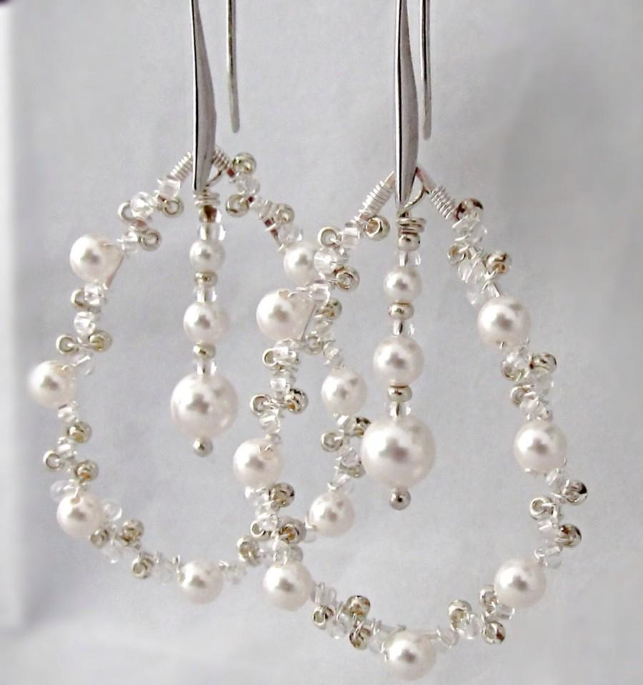 Silver And Pearl Crystal Earrings Bridal Wedding Jewelry Teardrop Statement Unique