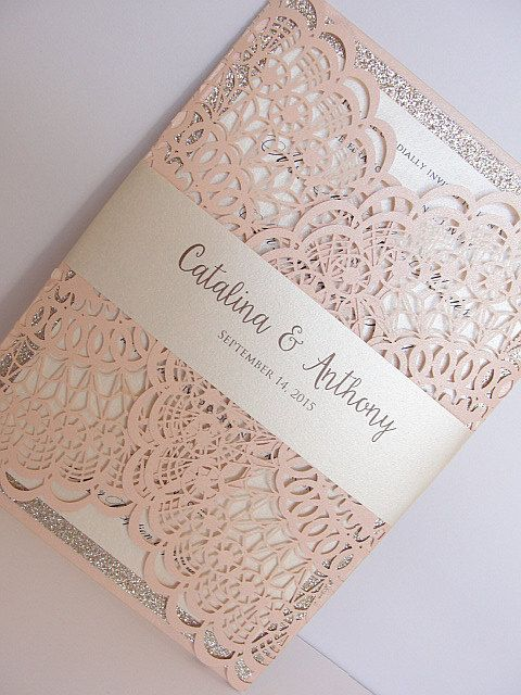 Laser Cut Wedding Invitation Doily Invite Bohemian 1 Blush Glitter