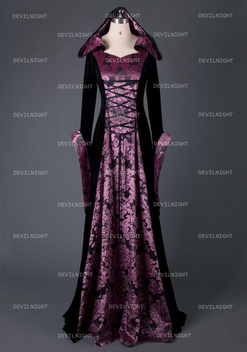 Black And Purple Velvet Vintage Meval Hooded Dress